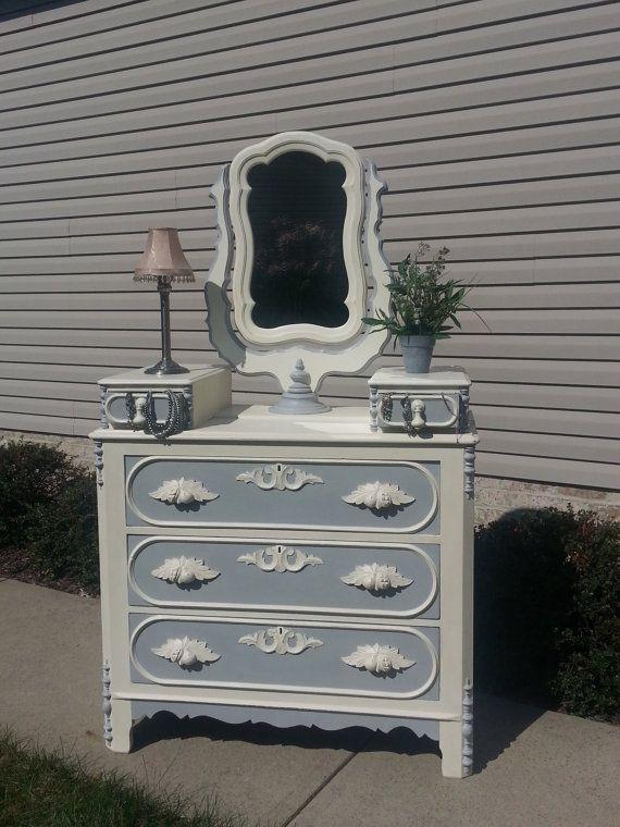 Shabby Chic Antique Glove Box Dresser with Swivel Mirror in Old White & Paris Gray Annie Sloan Chalk Paint