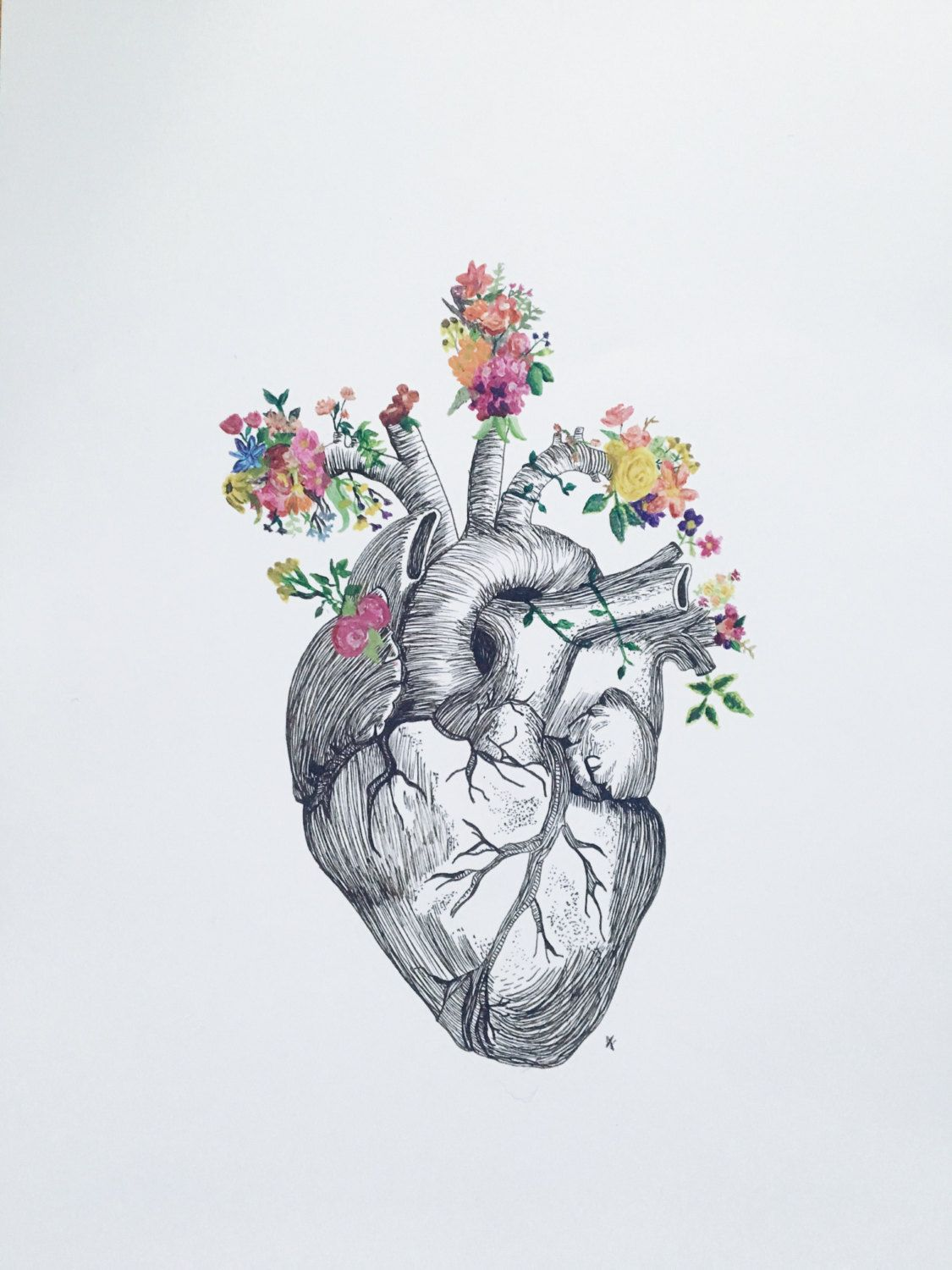 anatomical heart + flowers