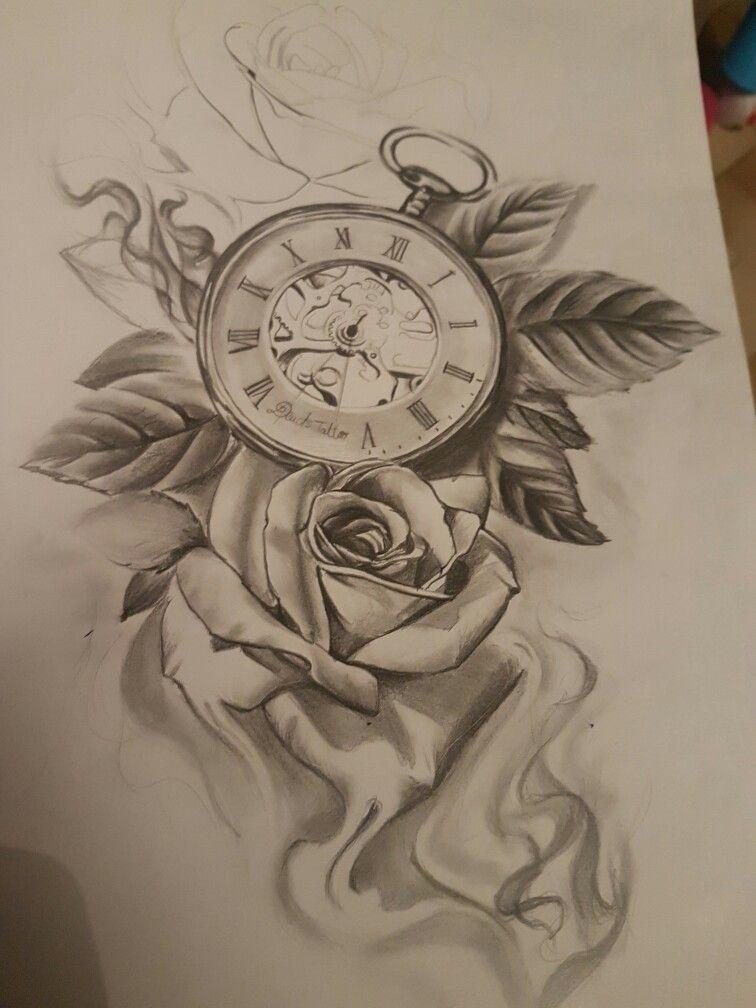 Tattoo Clock Rose Clock And Rose Tattoo Tattoos For Women Half Sleeve Beautiful Tattoos