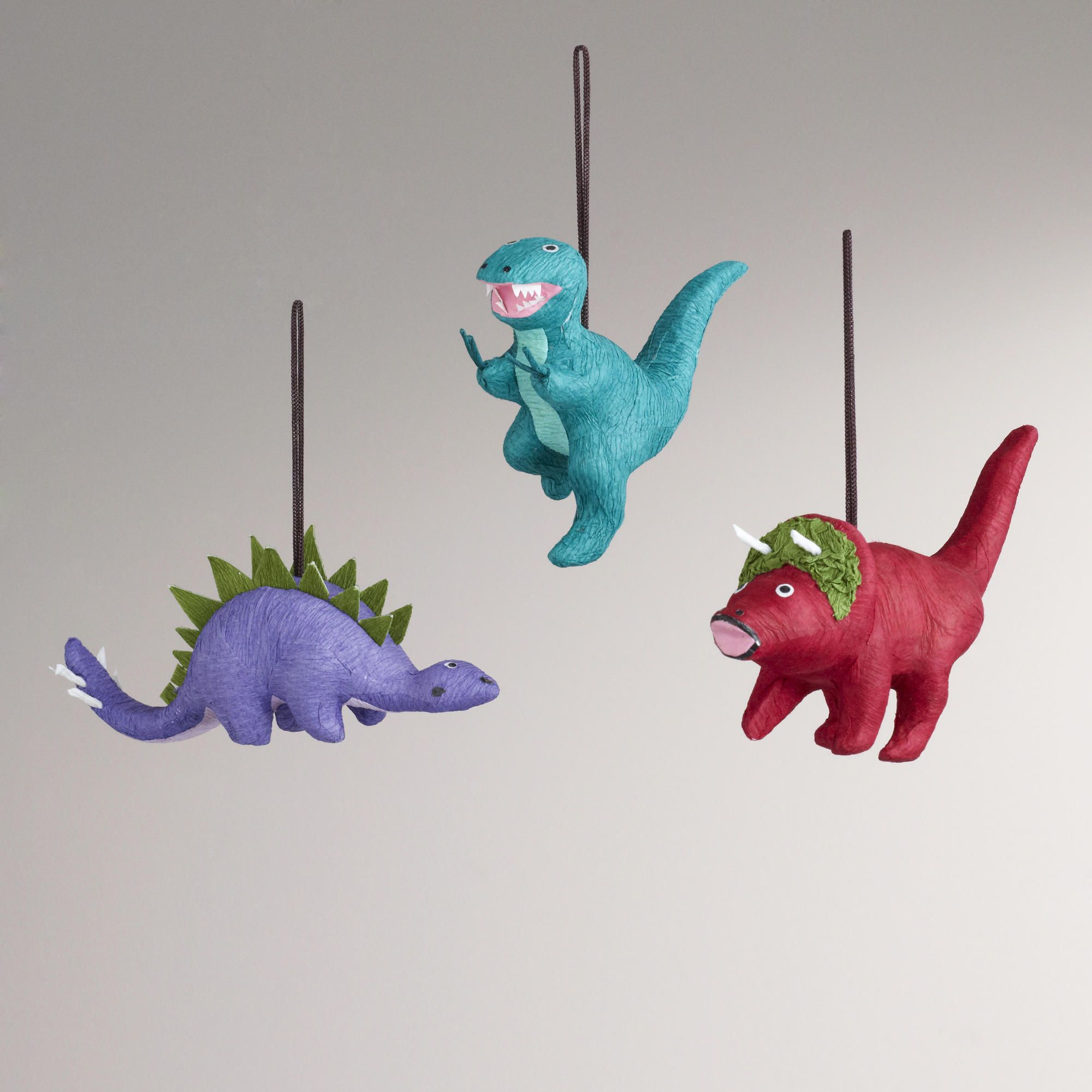 Paper Dinosaur Ornaments, Set of 3-Paper Dinosaur Ornaments, Set of 3   World Market