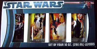 New Lucasfilms Star Wars 4 10 oz. Glass Set Boxed $28.99