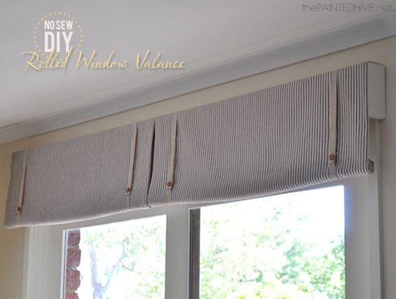 Diy No Sew Rolled Window Valance Con Imagenes Cortinas Dobles