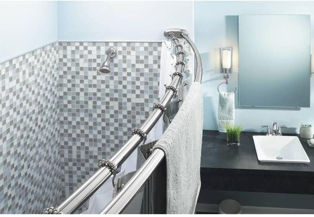 Stainless Steel Chrome Adjustable Double Curved Bathtub Shower