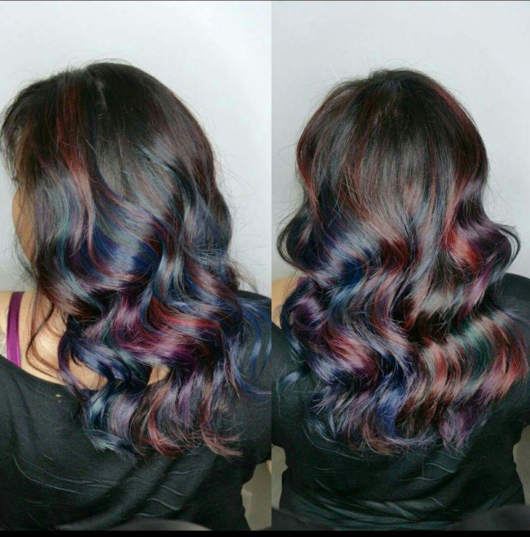 Muted Oilslickpeacock Hair Color By Sugar Plum Locks By Kenzie - Peacock hairstyle color