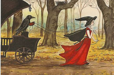 4x6 PRINT OF PAINTING RYTA SURREALISM RAVEN CROW VINTAGE STYLE MOON GOTHIC ART