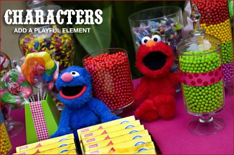 Colorful Sesame Street Candy Buffet