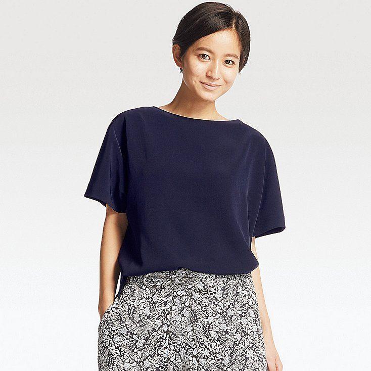 750a12d182504d Women drape short sleeve t blouse