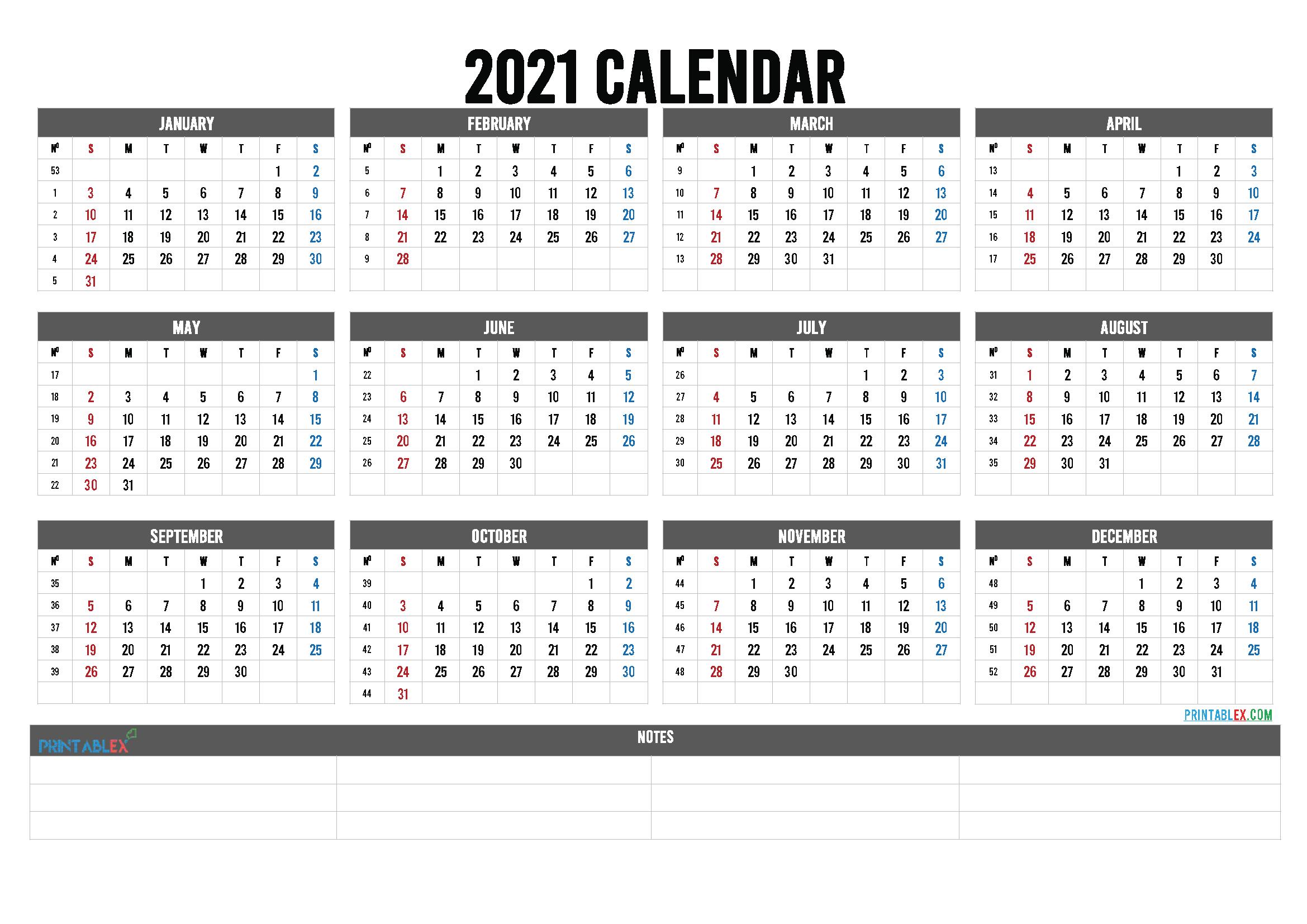 2021 Calendar With Week Numbers Printable 21ytw145 In 2020 Calendar Printables Printable Calendar Template Printable Yearly Calendar