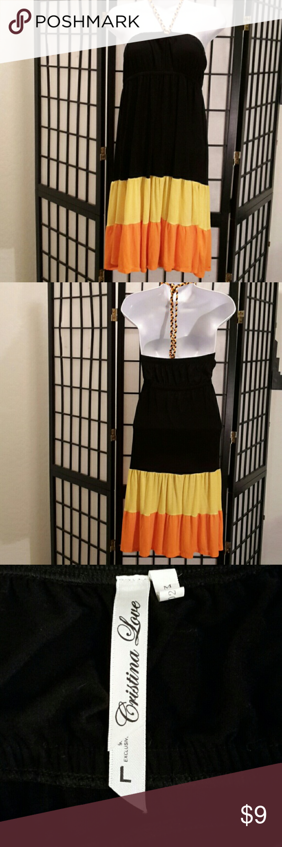 Cristina Love Tube Top Dress *EUC* Multi-color, Color Block, Empire Waist, Tie Neck, Stretch, A-Line, 95% Polyester 5% Spandex, No 🚫 trade and No 🚫 price drop! Thank you for sharing my closet, I will ALWAYS show you the Posh Love ❤ by doing the same💕 Cristina Love Dresses