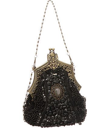 Black Beaded Victorian Vintage Style Evening Clutch Designer - $34.95