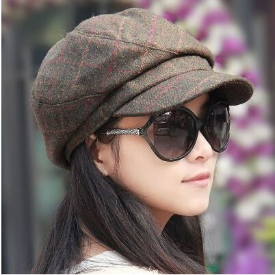 casual plaid newsboy cap for women warm wool hat winter