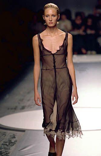 Alberta Ferretti | Spring 2000 Ready-to-Wear | 11 Nude/black strappy midi dress