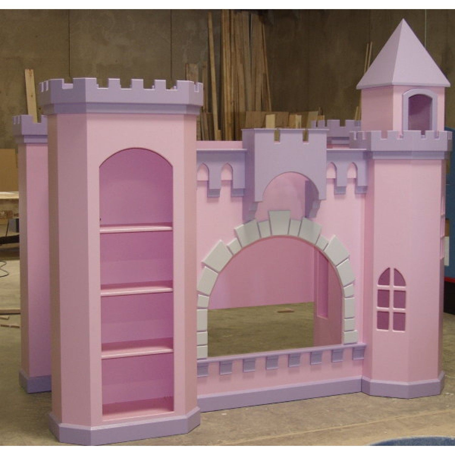 Kids loft bed with slide plans - Norwich Guinevere Castle Bunk Bed Pink And Purple Castle Bed For Girls Built In Storage Bookcase