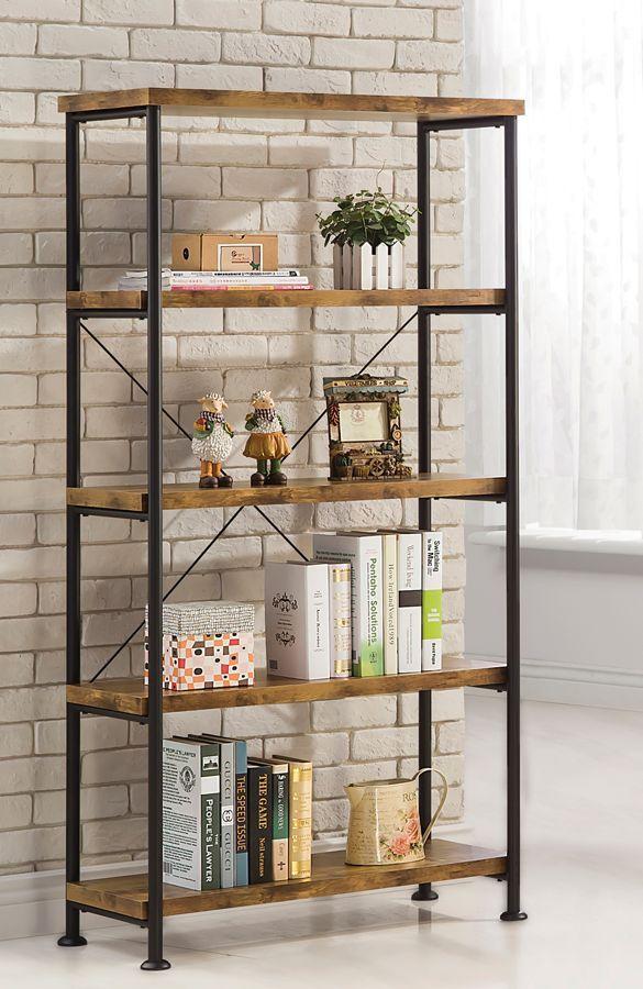 Barritt Antique Nutmeg Wood Amp Laminate Metal Bookcase Wood And Metal Shelves Metal Bookcase Wood Bookshelves