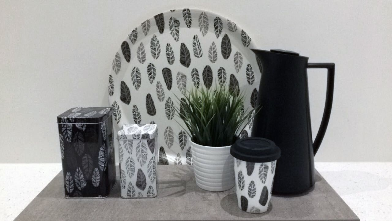 Tea or coffee? Birch tray, tin boxes and porcelain thermo mug with silicon lid in Garden party white leaves style.