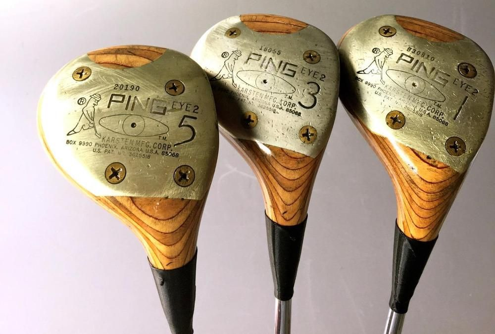 Ping Eye 2 Golf Clubs Woods Blonde Rh Set 1 Driver 3 5 Wd Blondes Steel Shafts Ping Golf Clubs Golf Clubs For Sale Ping Golf