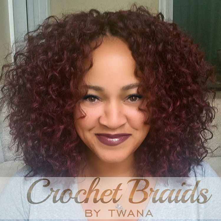 Crochet Braids with Freetress Barbadian Curl in color 99J. #crochetbraids #protectivestyles #hairextensions #braids #freetress #99J #burgundyhair #haircrush #crochetbraidsbytwana www.crochetbraidsbytwana.com #crochetbraids