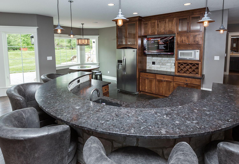 leathered Antique Brown granite, stone backsplash