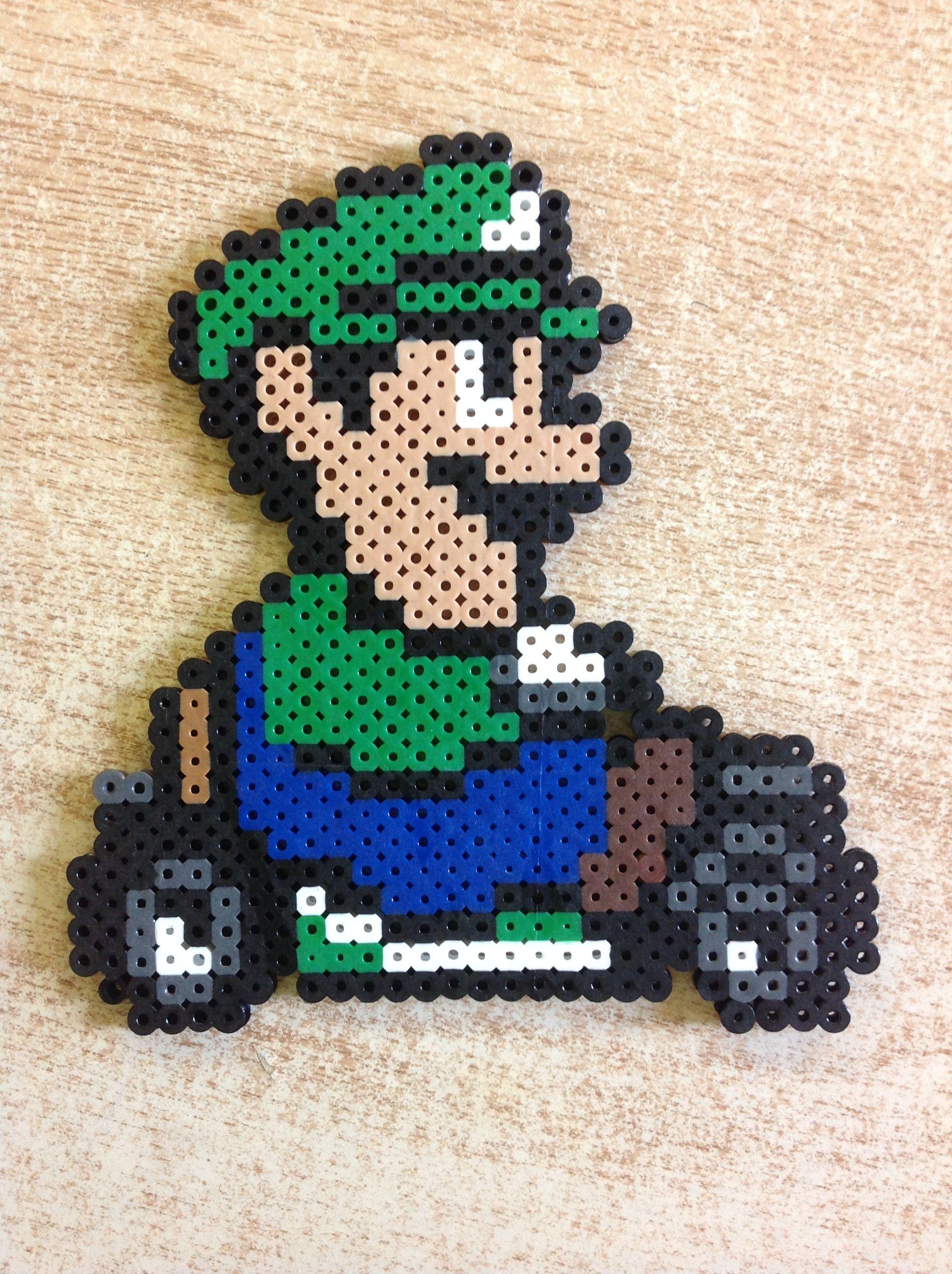 Mario Kart 64 Luigi Perler Bead Art Perler Bead Patterns