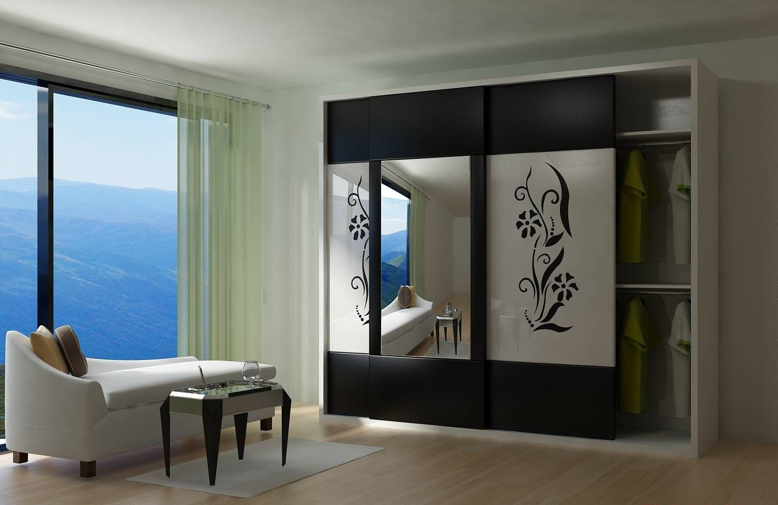 Modern wardrobe with sliding door and large mirror idea for Wardrobe interior designs catalogue