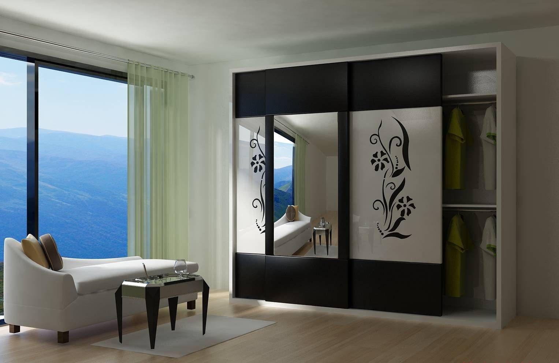 Bedroom interior design with almirah modern wardrobe with sliding door and large mirror idea feat luxury