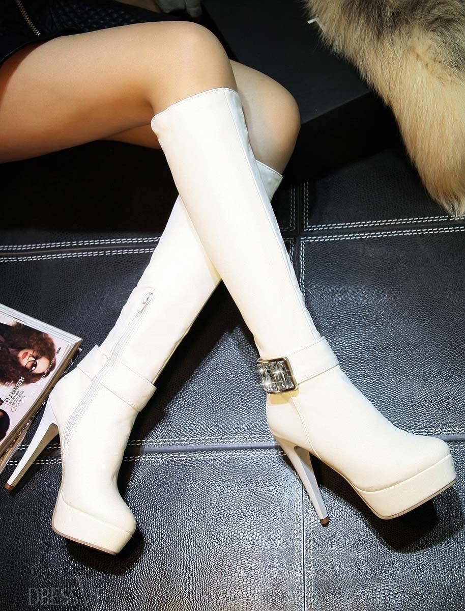 394211a68ba Rhinestone Decorated Stiletto Heel Knee High Boots