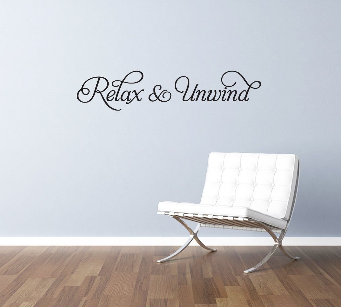 relax and unwind vinyl wall art sticker decal transfer with swirls for bedroom lounge