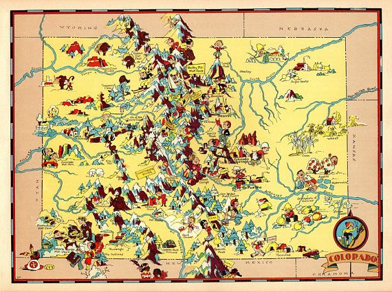 Colorado Map Art.1930 S Vintage Colorado Picture Map State Cartoon Map Print Gallery