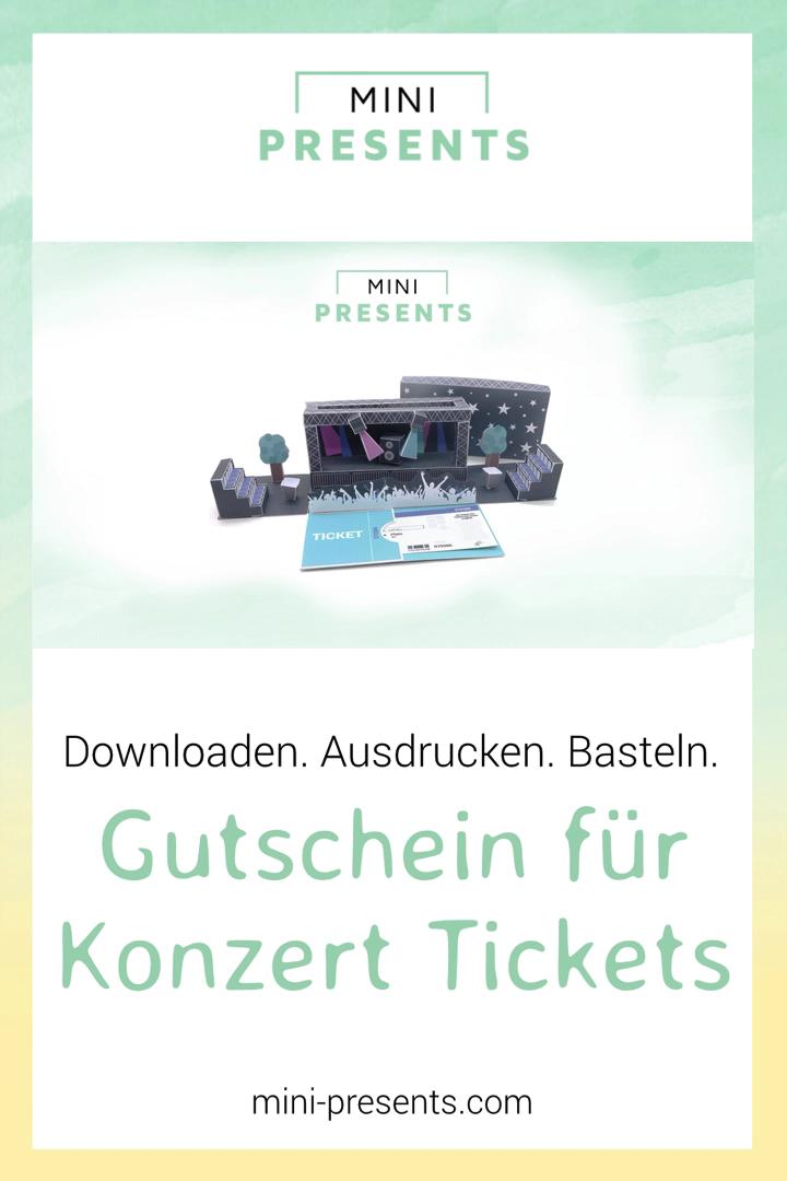 Gutschein für Konzert Tickets als Explosionsbox basteln
