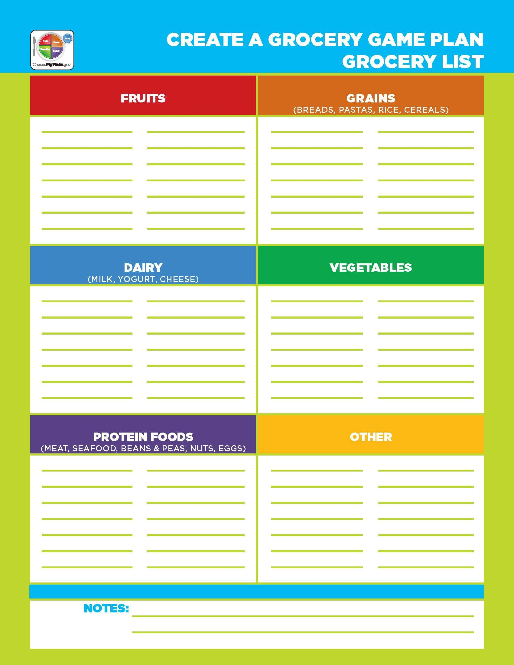 Printable Grocery List Template Myplate In
