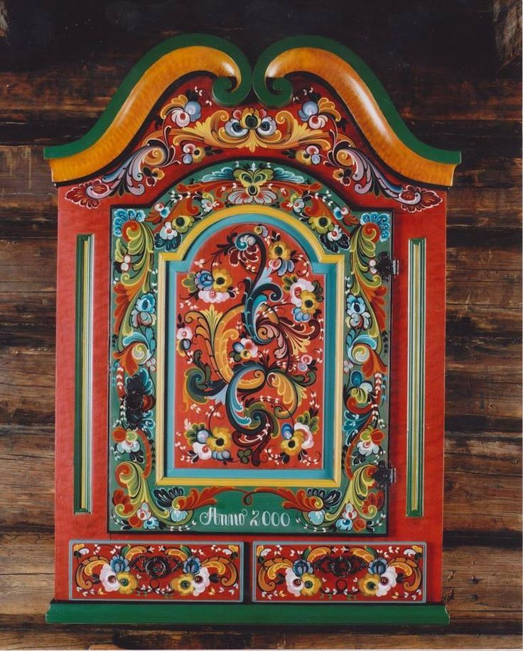Nordic Cabin With Folk Art Wall Cabinet Scandinavian Folk Art Folk Art Flowers Folk Art Painting