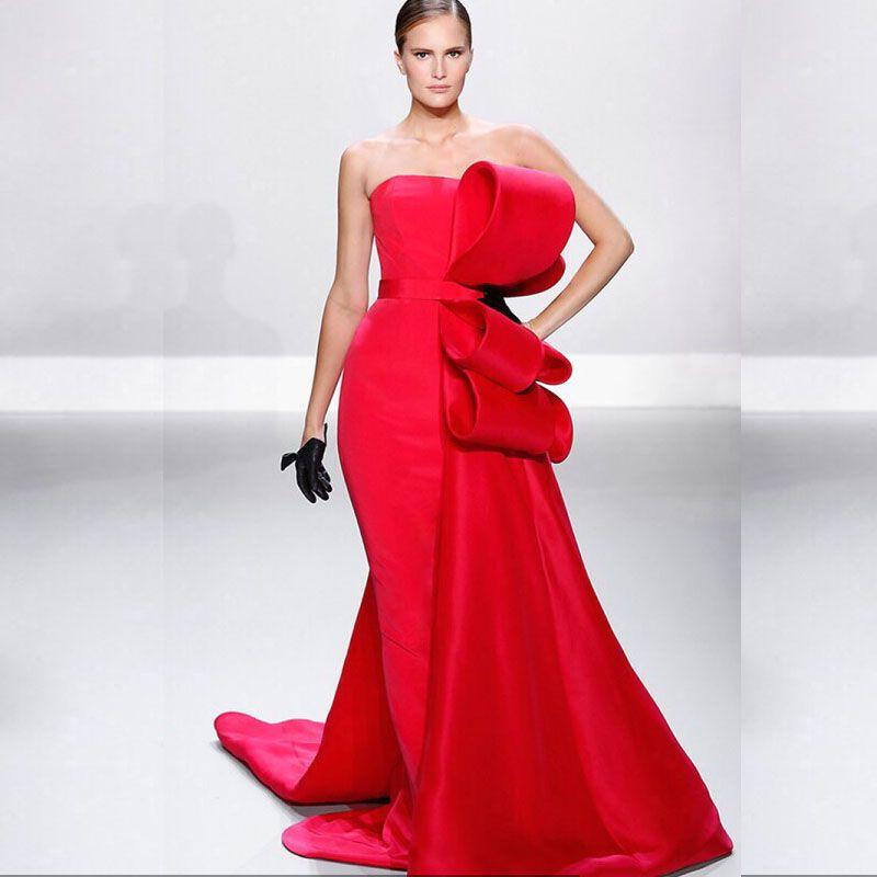 2016 roter Teppich Kleider Einfache Abendkleider mit Großen Bogen a ...