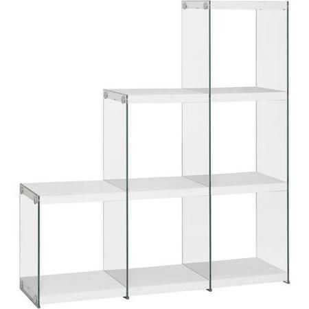 Coaster Glossy White Transparent Bookcase With 5Xs Stronger Tempered Glass