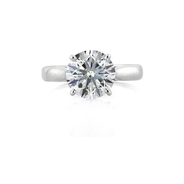 Mark Broumand 2.59ct Round Brilliant Cut Diamond Solitaire Engagement... (€30.765) ❤ liked on Polyvore featuring jewelry, rings, white, round diamond engagement rings, white engagement rings, white gold solitaire, round diamond ring and round diamond solitaire ring