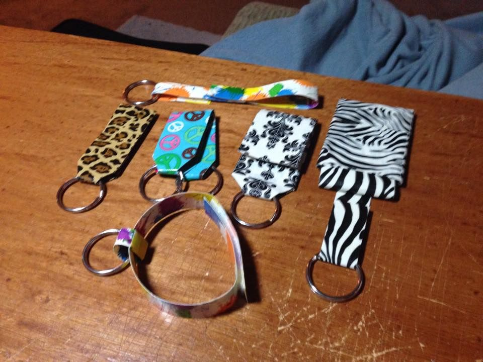 Six Duct Tape Key Rings 1 Leopard Skin Single 2 Peace Sign Peace Sign With Color On Inside