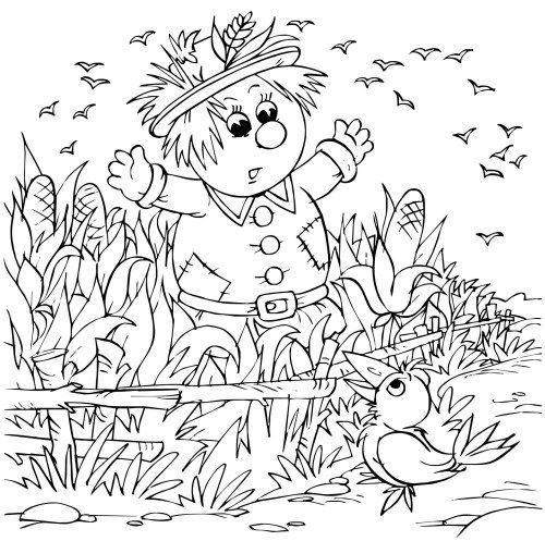 scarecrow coloring pages autumn - photo#36