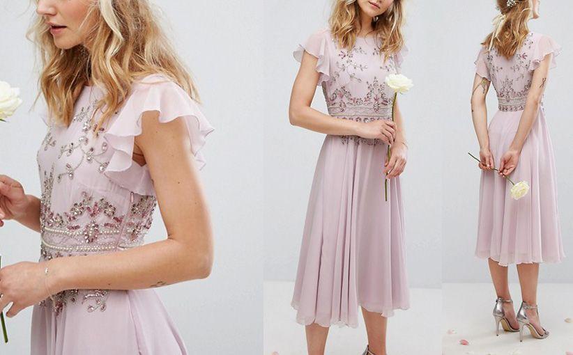 A6704 Maya Sukienka Midi Liliowa Z Koralikami M 7379266208 Oficjalne Archiwum Allegro Dresses Bridesmaid Dresses Fashion