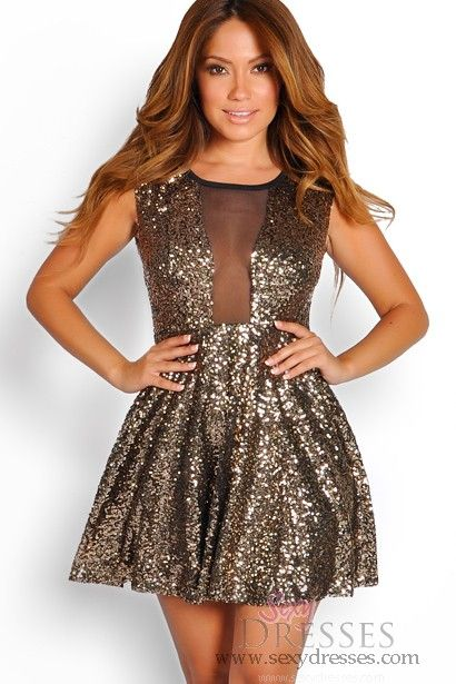 I Need This Dress For New Years Eve Ahhh Y Gold Sequins Mesh Skater