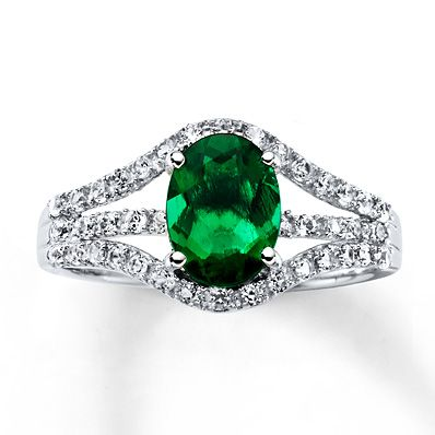 69064a48f5cb3 Lab-Created Emerald Lab-Created Sapphires Sterling Silver Ring ...