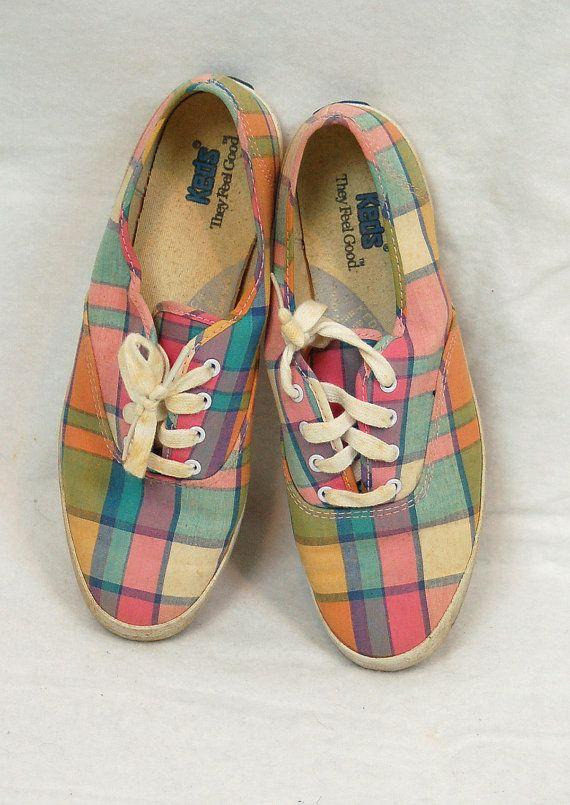 Vintage plaid Keds sneakers pastel