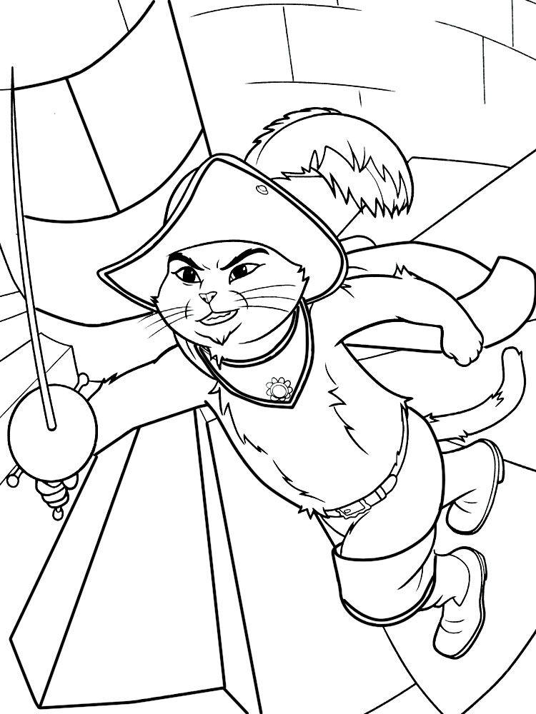 El Gato Con Botas Dibujos Infantiles Para Colorear Para Ninos Y