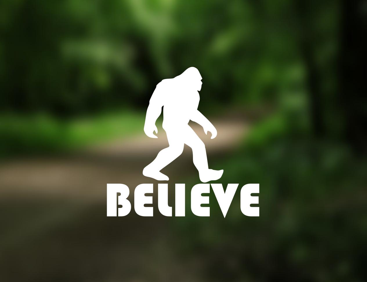 BELIEVE Bigfoot Sasquatch Vinyl Decal Sticker Car window laptop