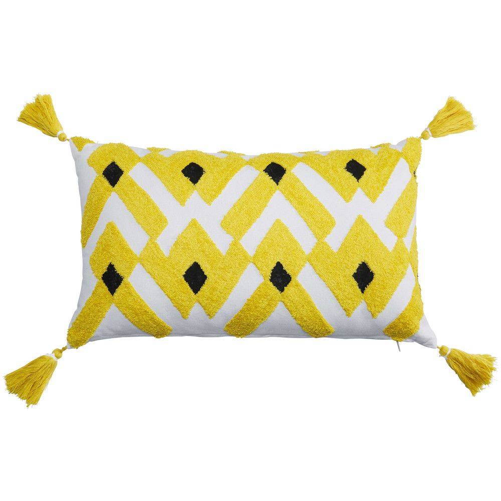 Wilic black and yellow cotton cushion x cm summer cottage