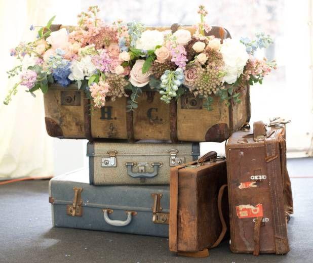 Flowers In Absurd Beautiful Places Unique Flower Arrangements Vintage Suitcases Flower Arrangements