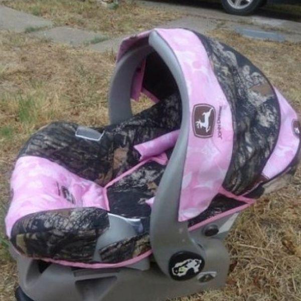 Baby Girl Pink Camo John Deere Car Seat