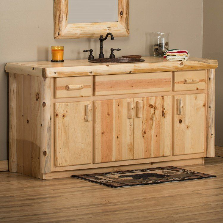 Woodlands Clean Cedar Log Vanity In 2019 Cedar Log Log