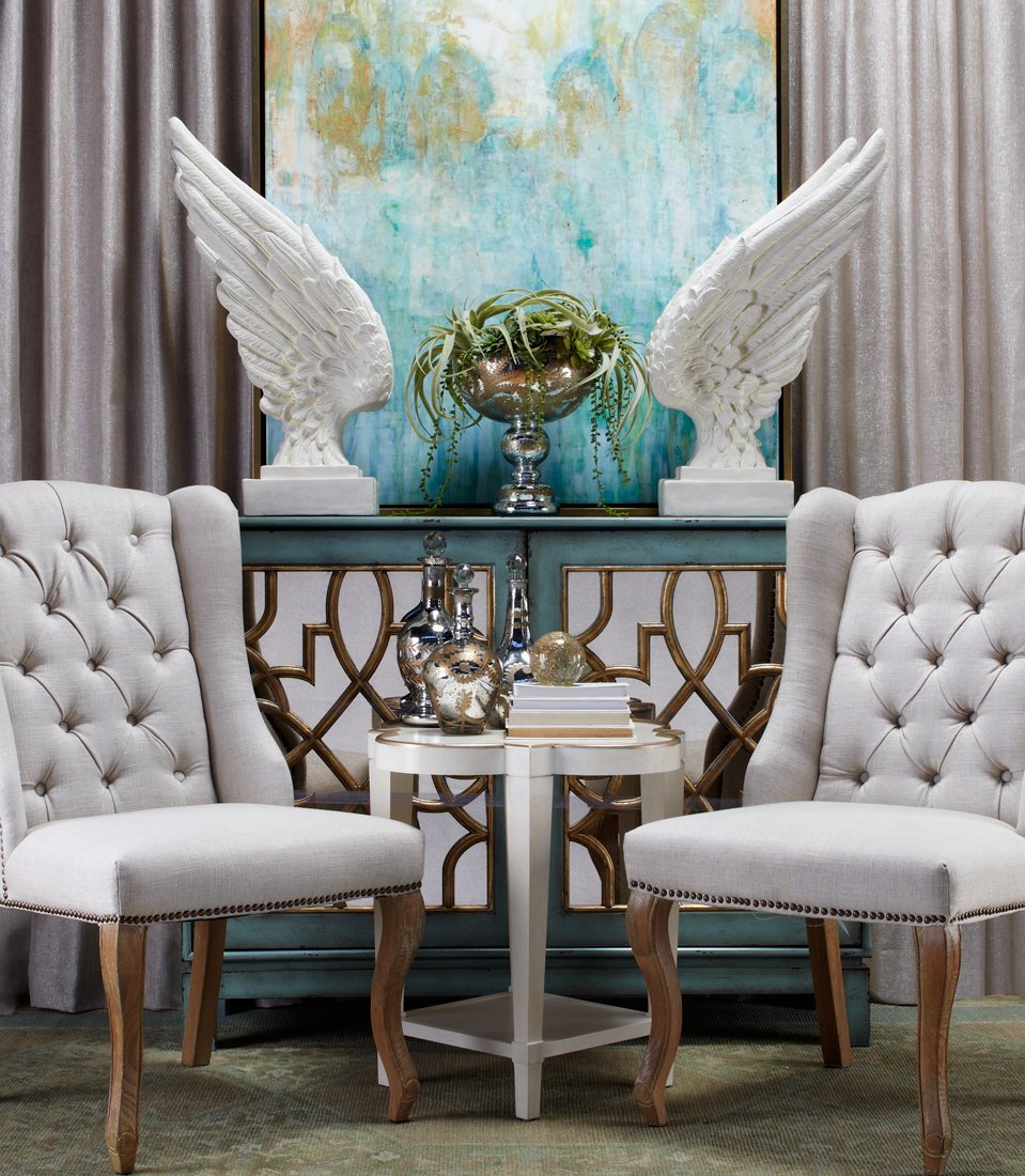 Style tip create a calming retreat by infusing pops of for Neutral color furniture