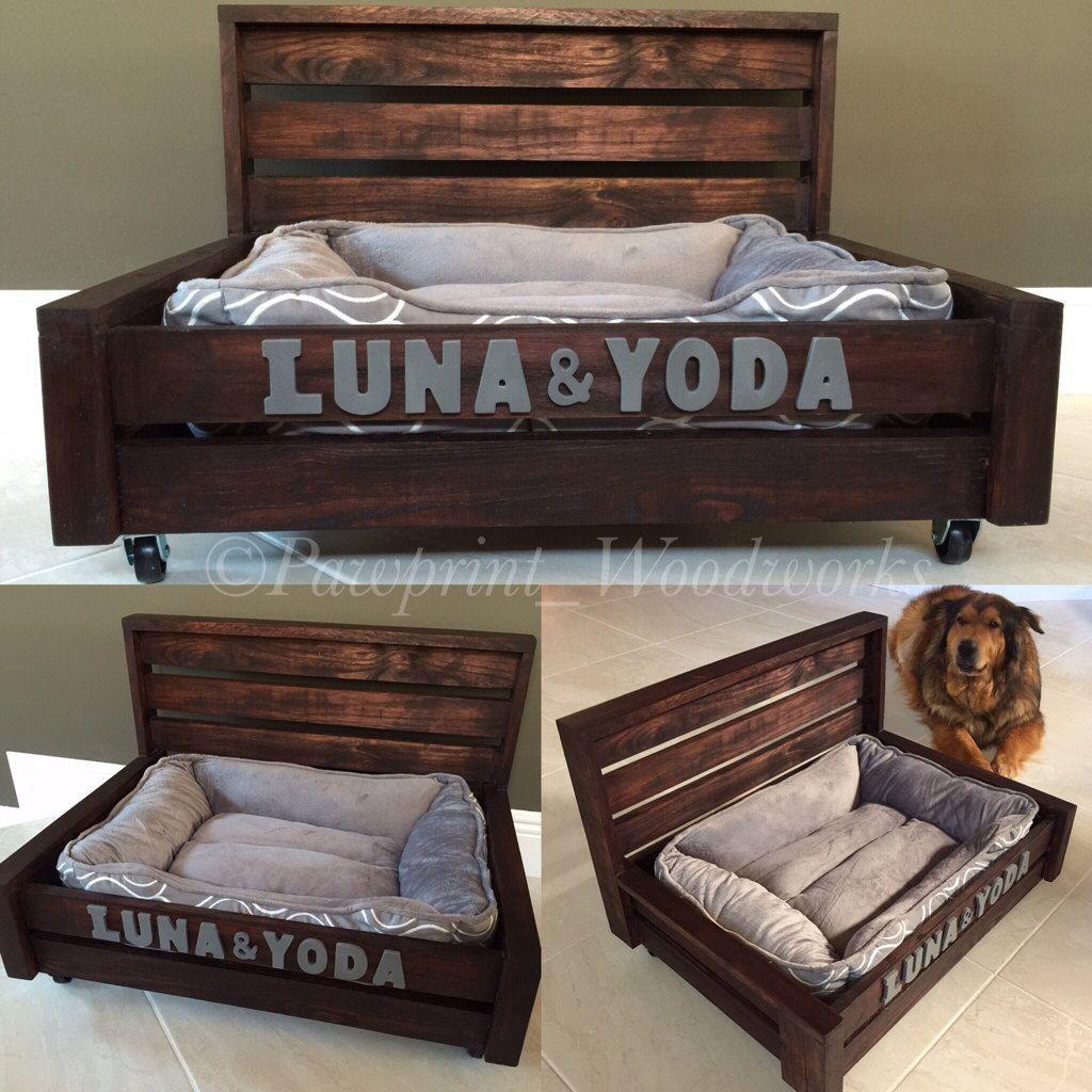 Customized Dog Bed Rustic Wood Washable