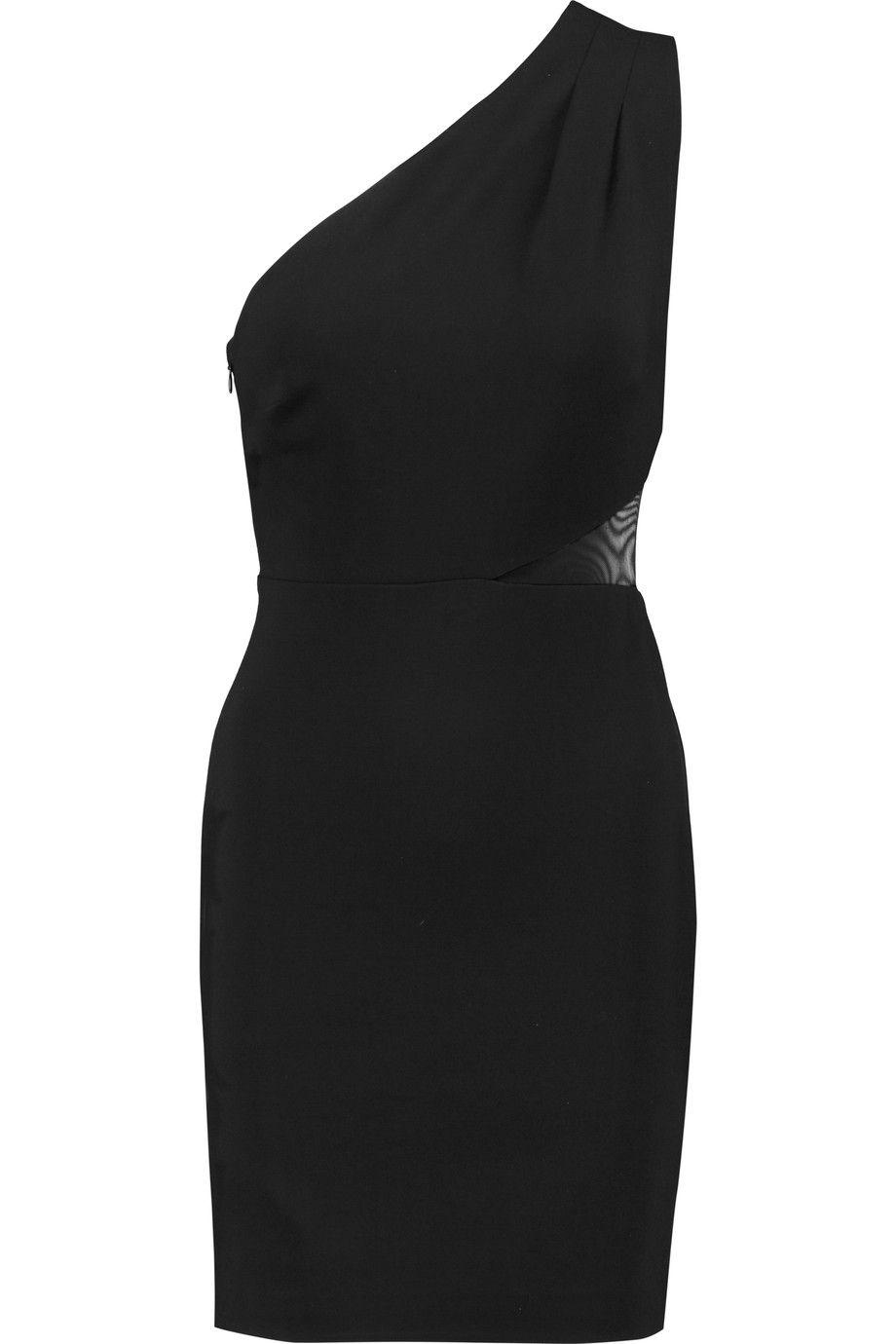 HALSTON HERITAGE One-Shoulder Paneled Ponte Mini Dress. #halstonheritage #cloth #dress