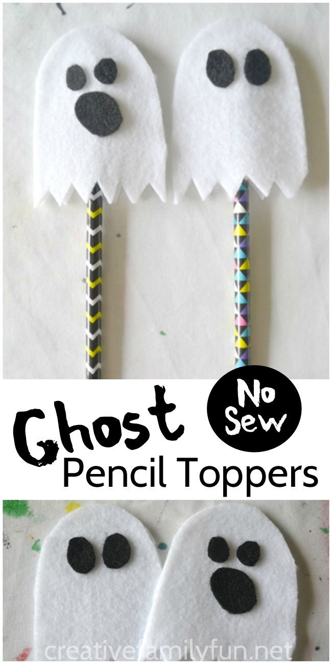 Halloween classroom crafts - This No Sew Ghost Pencil Topper Is A Fun Halloween Gift That Kids Can Make For Their Friends Or Make A Whole Batch For A Great Non Food Classroom Treat